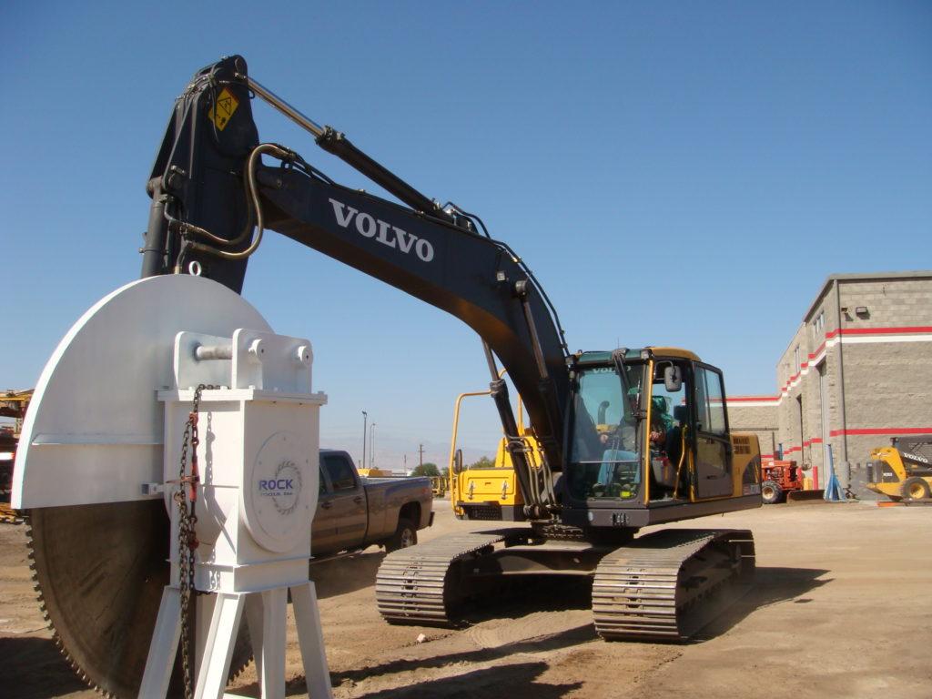 Demolition rock saw on Volvo excavator
